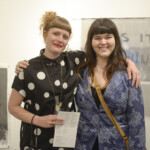 Picture of Art Faculty Erin Elyse Burns with Art Senior at the BFA opening at Cornish College of the Arts